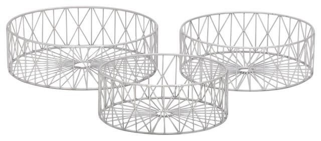 Metal Silver Baskets, 3-Piece Set