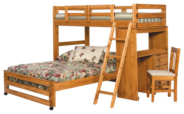Twin Over Full Loft Bed With Desk End, Honey.
