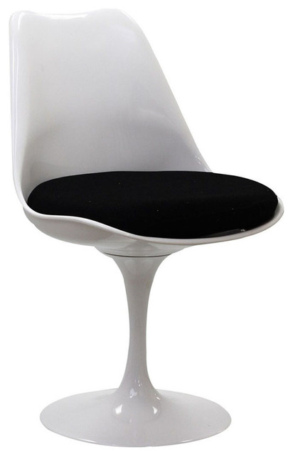 Tulip Side Chair Modern, White With Black Cushion