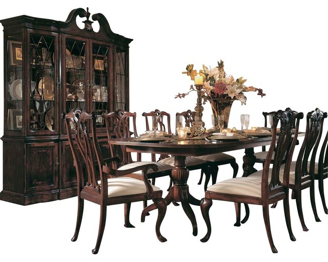 american drew cherry grove 8-piece dining room set in antique