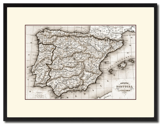 Map Of Spain For Printing.Spain Portugal Old Sepia Map Print On Canvas With Black Custom Frame 16 X 21