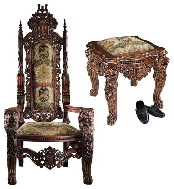 Nice European Lord Raffles Gothic Gold Throne And Ottoman Set