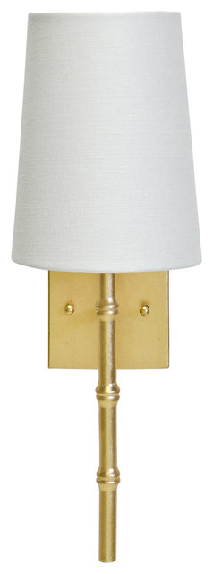 Sconce With Bamboo Detail and White Linen Shade, Gold