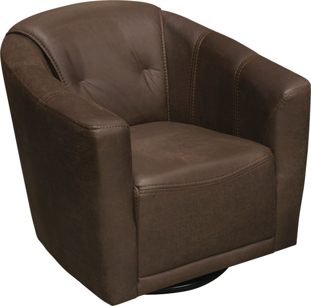 Murphy Swivel Accent Chair in Chocolate Brown Fabric, Brown by Diamond Sofa