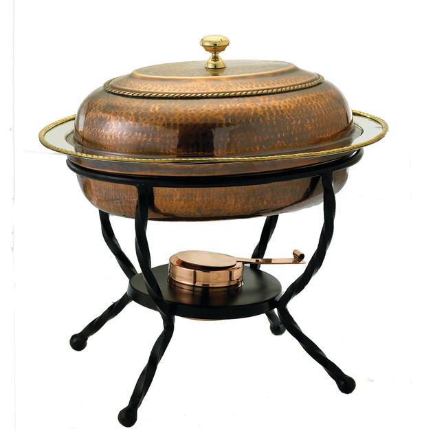 """16""""x 12""""x 19"""" Oval Antique Copper Over Stainless Steel Chafing Dish, 6 Qt.."""