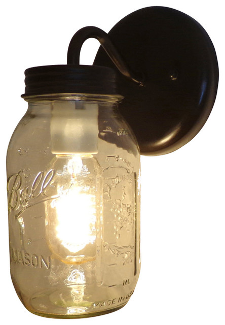Mason Jar Wall Sconce Lighting Fixture New Quart, Oil Rubbed Bronze