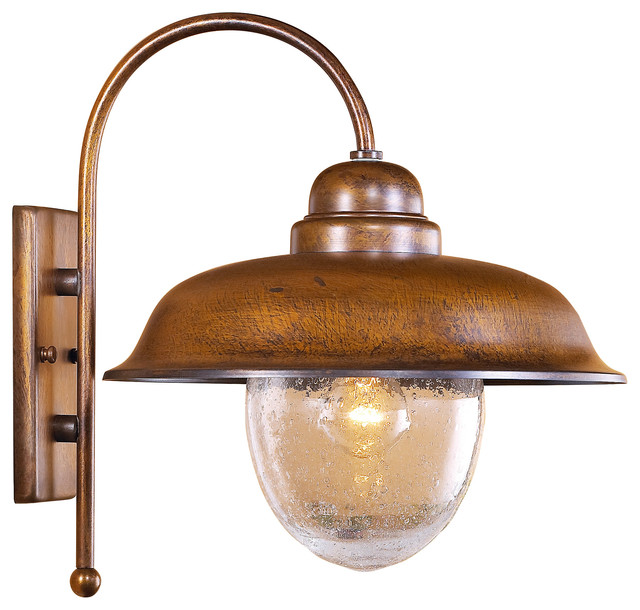 Bubbles Outdoor Wall Sconce With Seeded Glass Rustic Outdoor