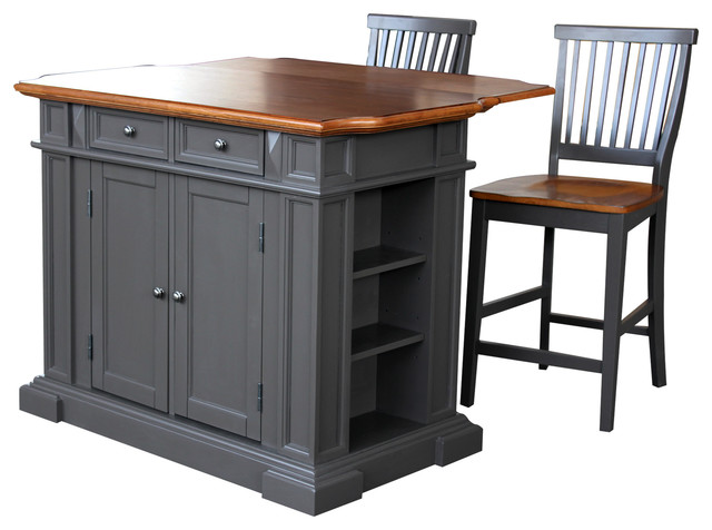 Home Styles Americana Kitchen Island with 2 Stools in Gray