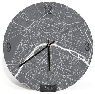 paris map art wall clock unique contemporary art wall