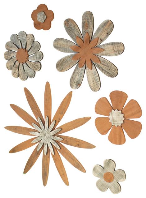 6 Piece Wooden Flower Wall Art Set