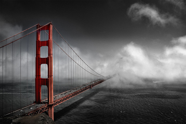 Golden Gate Bridge Fine Art Metal Picture 72x48 Contemporary Fine Art
