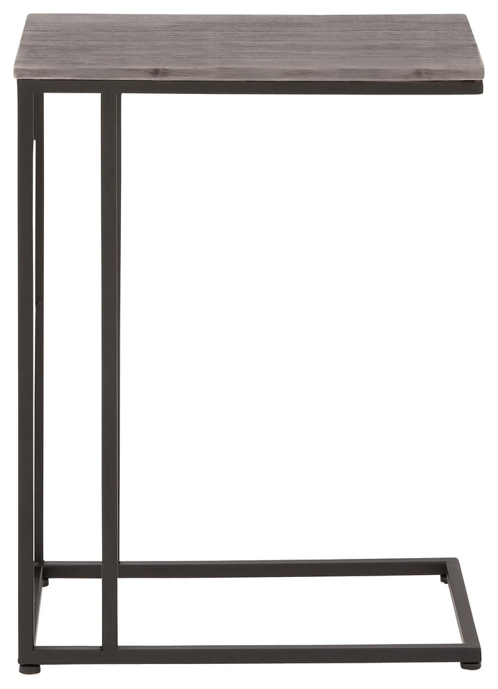 Contemporary Rectangular Iron And Wood Accent Table Brown Black