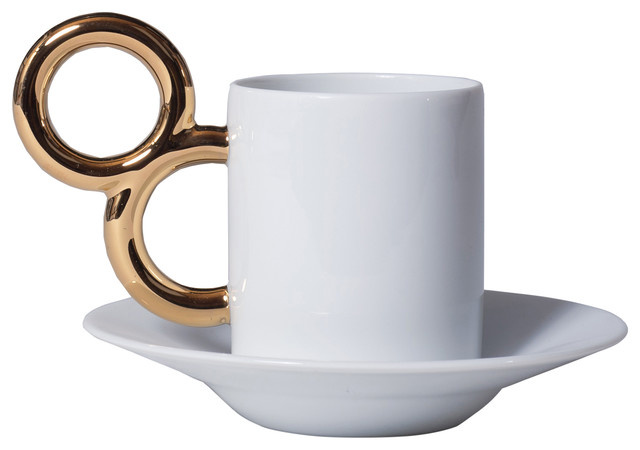 Maniériste Limoges Porcelain Coffee Cup and Saucer