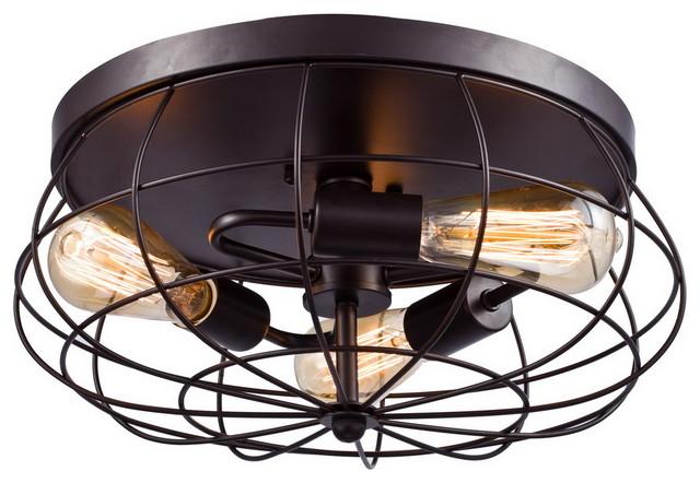 Shop Millennium Lighting 3 Light Neo Industrial Rubbed: Oil Rubbed Bronze Flush Mount Ceiling Light, 3-Light