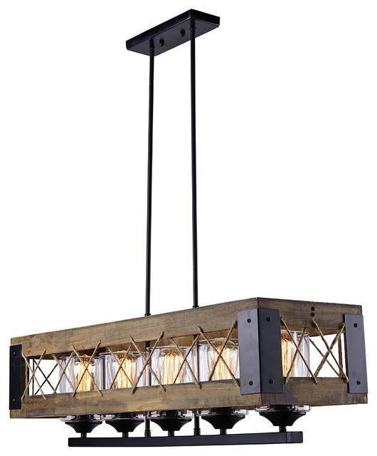 Rustic Wood Kitchen Island Lighting 5 Light