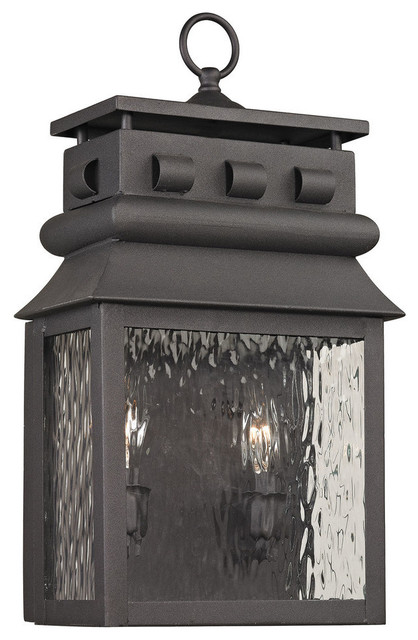 Forged Lancaster 2-Light Outdoor Sconce, Charcoal.