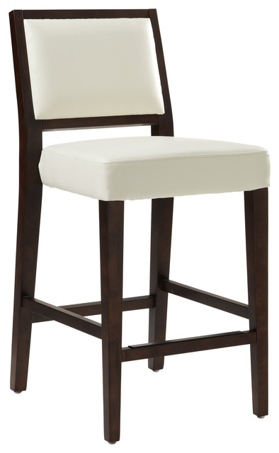 Vincent Leather Counter Stool, Ivory.
