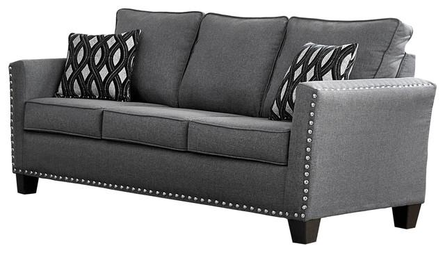 Great Carolina Chenille Sofa, Gray Traditional Sofas