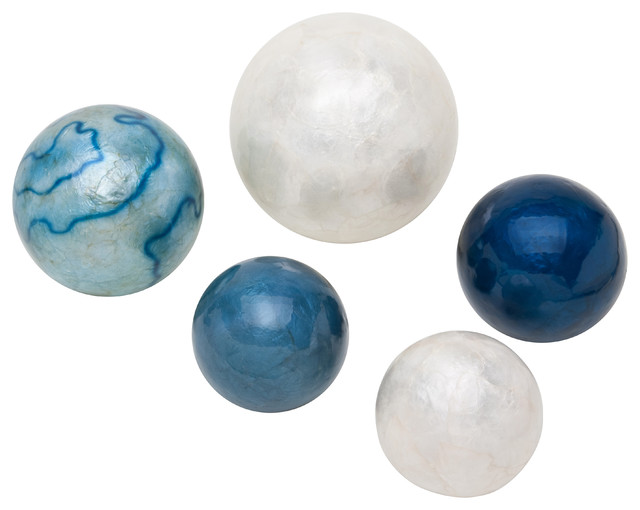 Frantic Fern Capiz Shell Balls Blues And Whites Set Of