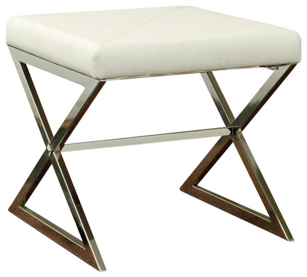 Modern White Leather Like Vinyl Soft Faux Metal Base Ottoman Footstool