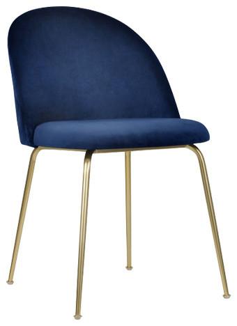 Millennial Brass Velvet Upholstered Dining Chair, Navy