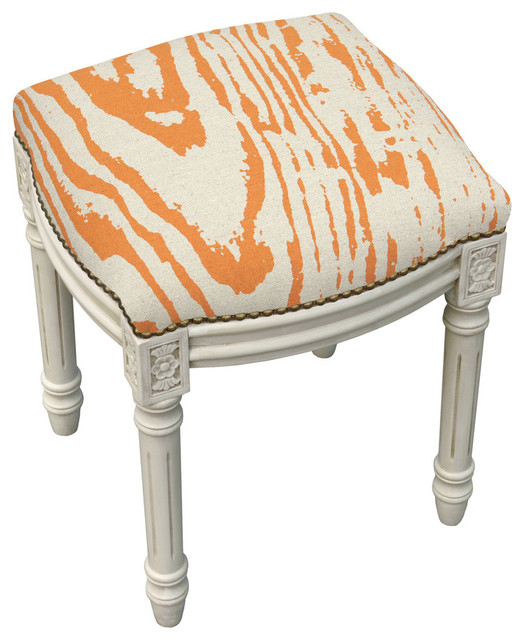 Awe Inspiring Orange Faux Bois Linen Upholstered Vanity Stool With Nailheads Theyellowbook Wood Chair Design Ideas Theyellowbookinfo