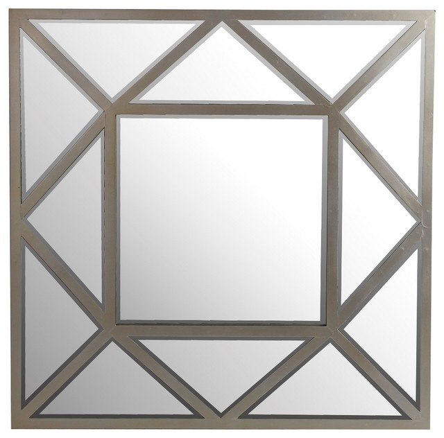 """Silver Metal Framed Beveled Glass Wall Mirror, 32""""."""