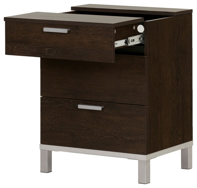 Nightstand With Charging Station In Brown Oak Finish