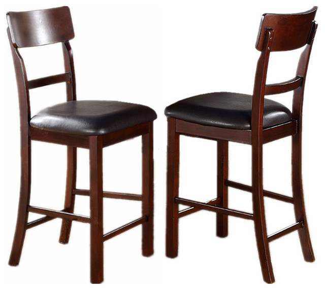 Dark Rosy Brown Faux Leather Upholstered Counter Height Dining Chairs, Set  Of 2