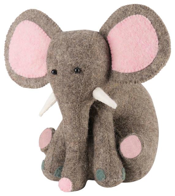 Elephant Door Stop With Pink Ears In Hand Felted Wool Contemporary Door  Stops