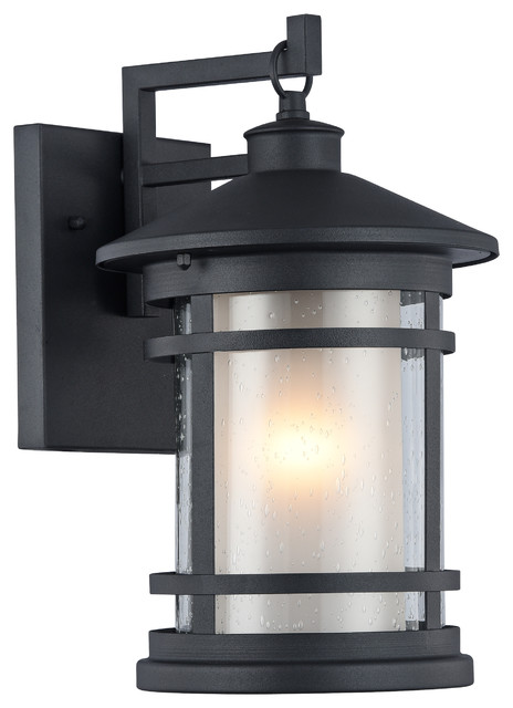 Exterior Wall Light Height : ADESSO, Transitional 1 Light Black Outdoor Wall Sconce, 14