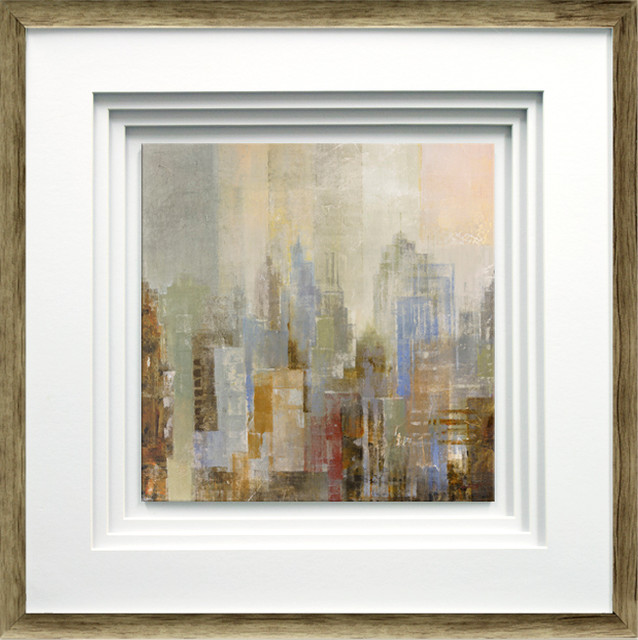 """""""midtown View I"""" By Longo, With Quad Mat, Brown Distressed Molding, 21""""x21""""."""