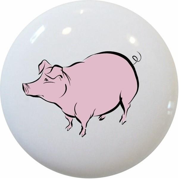 Pig Farm Animal Ceramic Knob - Farmhouse - Cabinet And Drawer Knobs - by Carolina Hardware and ...