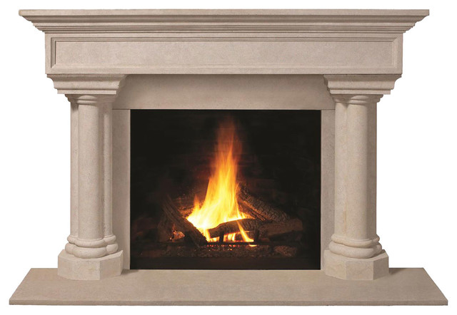 Fireplace Stone Mantel 1111.555 With Filler Panels, Buff, With Hearth Pad.