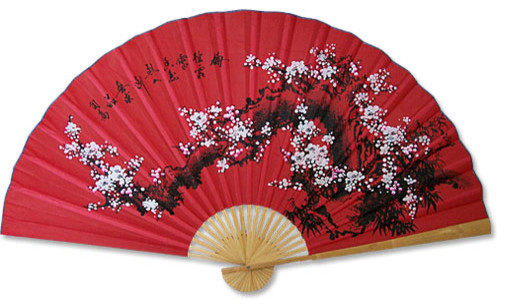 Prosperity Blossoms Chinese Wall Fan Asian Home Decor By