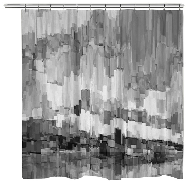 Laural Home Grey Glacier Shower Curtain Transitional Shower