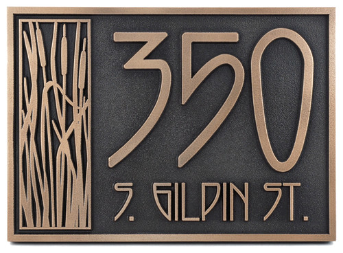 """Cattail Craftsman House Numbers 18""""x8.5"""", Bronze Patina"""