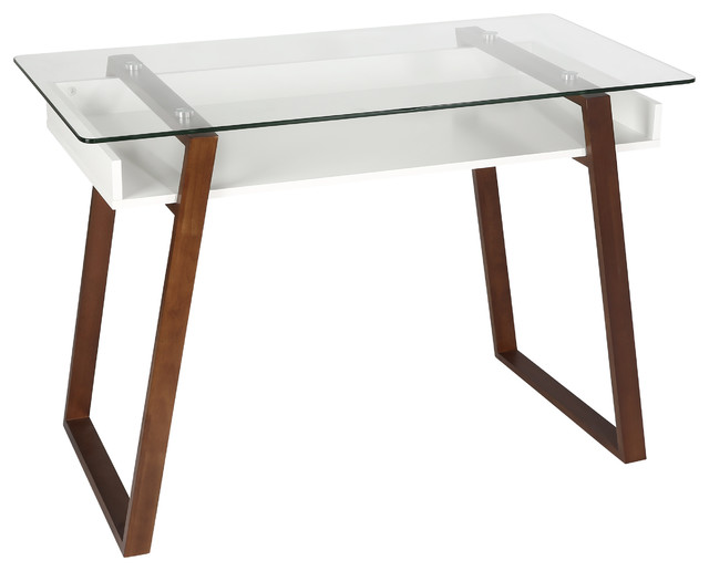 Poly And Bark Segovia Glass Top Desk, Walnut.
