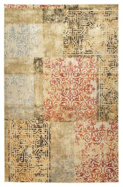 "Kaleen Tiziano Tza10-86 Multicolor Machine Made Rug, 9&x27;2""x12&x27;6""."
