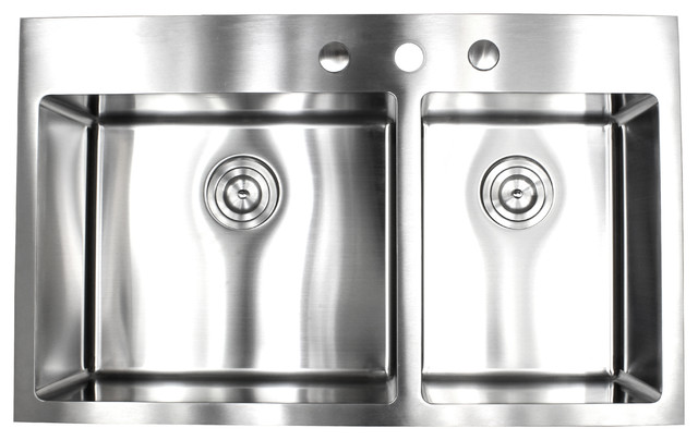 36 Drop In Top Mount Stainless Steel 60 40 Double Bowl