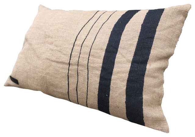 Jute Fabric Cushion, Vertical Stripes Design
