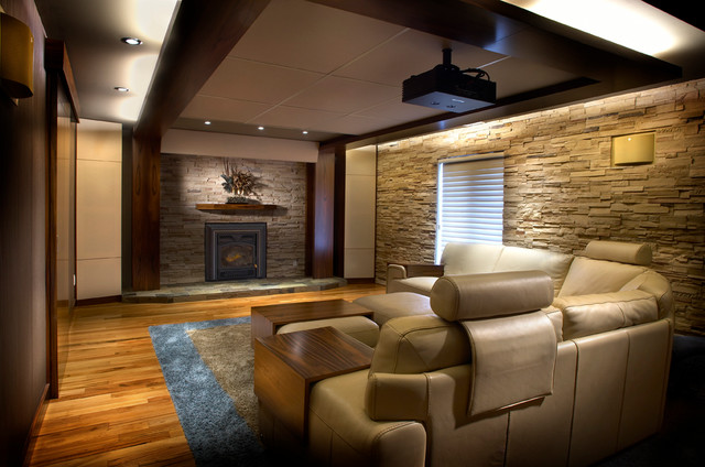 Comfy Home Theatre And Family Room Modern