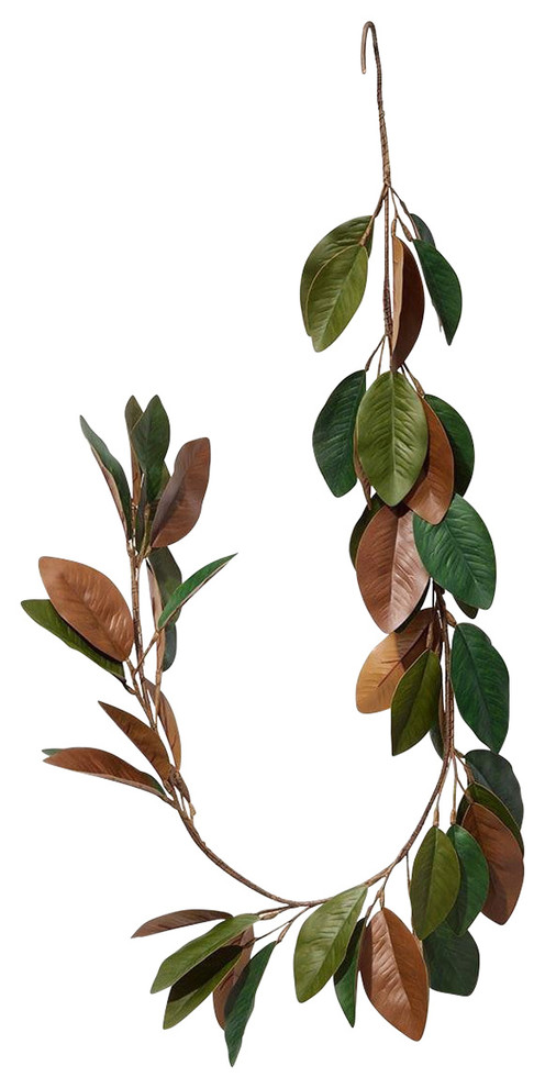 Serene Spaces Living 5 Feet Long Faux Magnolia Leaf Garland Rustic Wreaths And Garlands By Serene Spaces Living