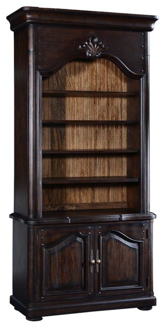 Bookcase French Provincial Distressed Walnut