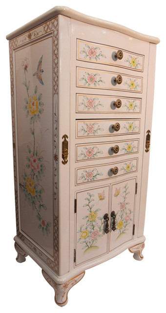 """White 39"""" H. Oriental Jewelry Armoire - Asian - Jewelry Armoires - by Oriental Furnishings"""
