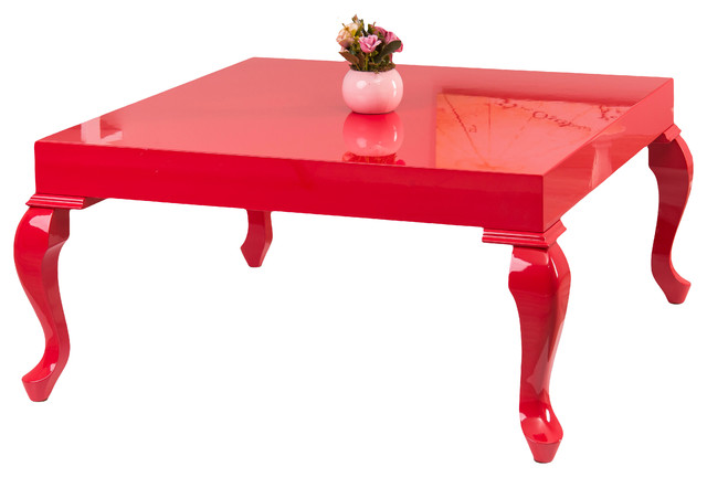 Lukens Red Lacquer Transitional Coffee Table.