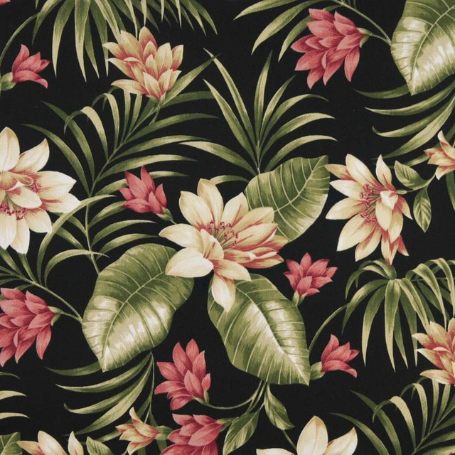 Black Pink And Green Fl Outdoor Indoor Marine Upholstery Fabric By The Yard Tropical Palazzo Fabrics