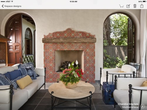 Spanish tile fireplace surround for Spanish style fireplace