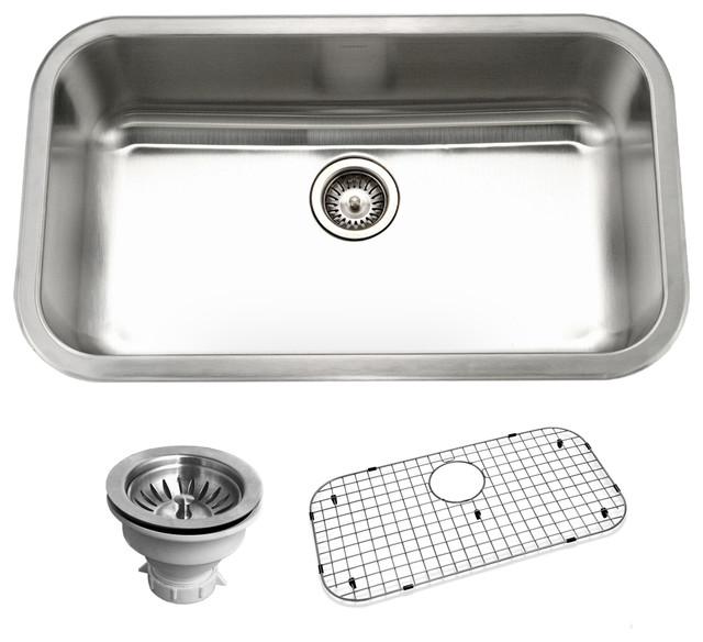 Houzer Belleo Series Topmount Large Single Bowl Kitchen Sink, Stainless Steel.