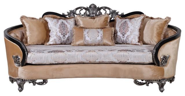 Rosabella Luxury Victorian Sofa Black Silver